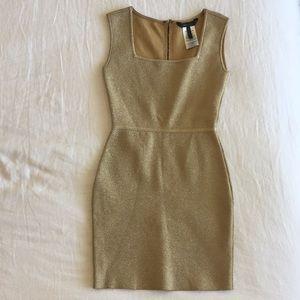 BCBG Maxazria gold mini dress